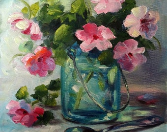 Impatiences in Mason Jar, 10x10 reproduction on panel of oil painting. Pink & Turquoise. Gift for Mom; Wedding/Shower gift; Christmas gift.