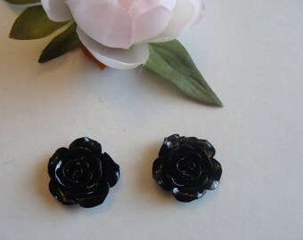 Set of 2 cabochon shape blush color black