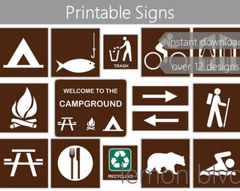 Campground Signs | Camping Party Printables | Instant Digital Download | Camping Party Pack | Camping Party Decorations | Camping Signs