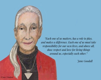 Jane Goodall, Inspirational Quote,Each has a role to play, Art Print,Digital Download, Motivational Image, Blue, Printable, 8 x 10