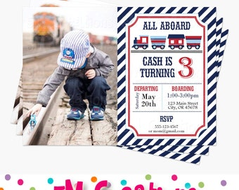 Train Birthday Party Photo Invitations - Train Printable Invite - Boy Party Invitations - Train Baby Shower Invitation - Red Navy Blue