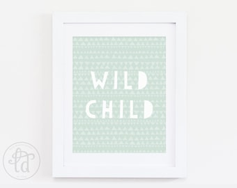 Wild Child Nursery Print - Mint - Digital Print - INSTANT DOWNLOAD