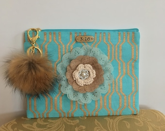 Turquoise with gold Jute zippered clutch-#1053