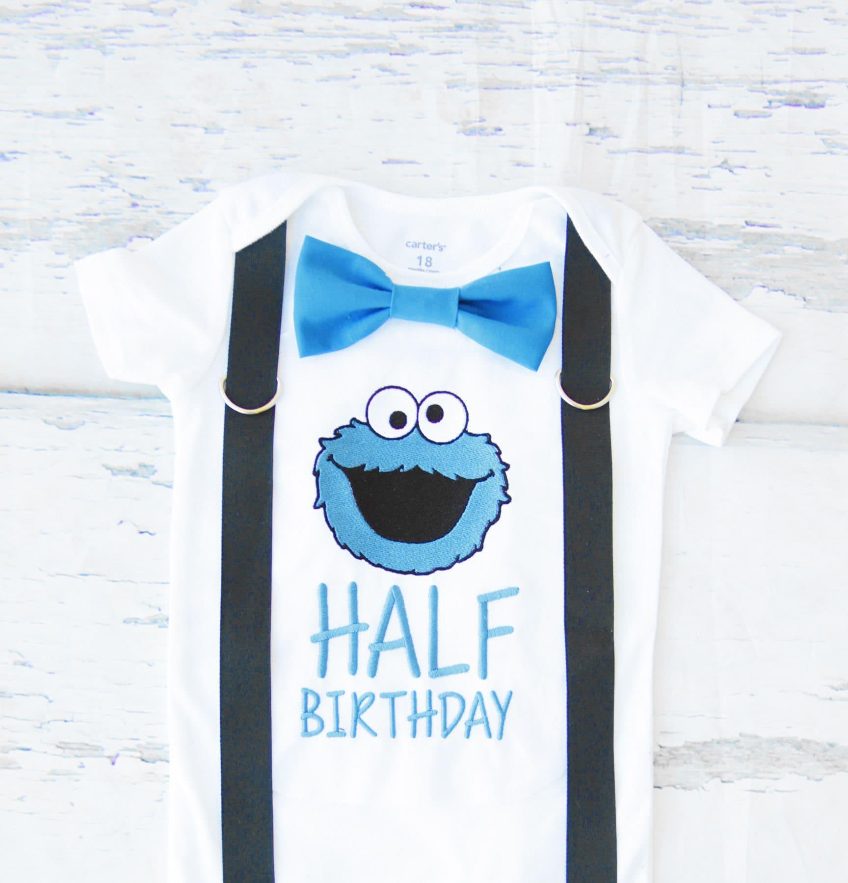 Boy half birthday birthday shirt Cookie Monster Bow tie