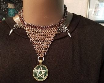 Earth Witch Chainmaille Pentacle Choker