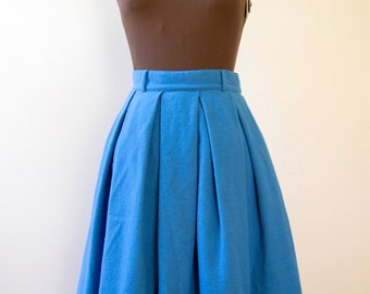 50s 60s Koret of California Cobalt Blue Wool Skirt Size Small