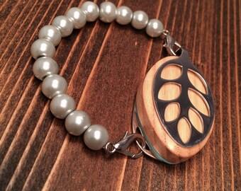 SALE ITEM! Gray Faux Pearl Bracelet for the Bellabeat LEAF