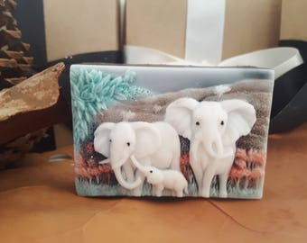 Elephant family soap bar - cool gift for guys - stocking stuffer - gift for men - gift for boyfriend - Christmas gift - gift for husband