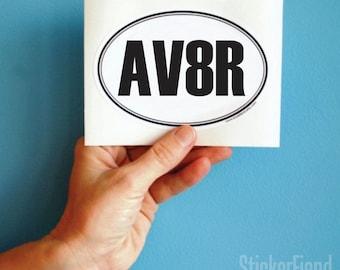 aviator oval bumper sticker