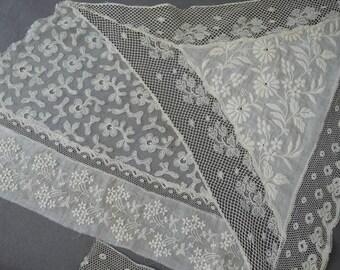 Vintage Embroidered Lace Trim, Antique Victorian Edwardian Cotton Dress Remnants