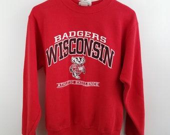 Vintage Wisconsin Badgers Crew Neck Sweatshirt Mens L Lee Sport Large