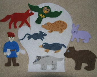 "The Mitten"" Children Story Flannel board Felt set"