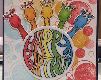 Retro Rainbow Giraffe Card