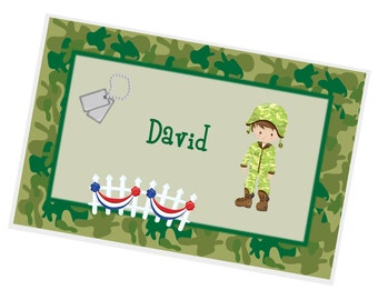 Soldier Personalized Placemat - Military Soldier Green Tan Camo with Name, Customized Laminated Placemat