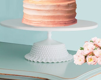 "Wedding Cake Stand Pedestal 16"" or 18"" / Milk Glass Hobnail Ruffle Cake Stand / White Cake Board on Vintage Milk Glass Base"