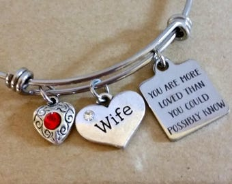 Bangle bracelet - you are loved - gift for wife - gift of encouragement - gift for friend - gift for sister - uplifting gift - cheerful gift
