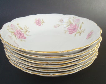 """Six Soup Bowls """"Shelby"""" Pattern by Edelstein Bavaria. Pink Floral."""