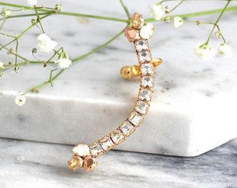 Climbing Earrings, Bridal Ear climbing Earrings, Swarovski Ear Crawlers, Swarovski Earrings, Bridal Trendy Earrings, Ear Cuff Earrings