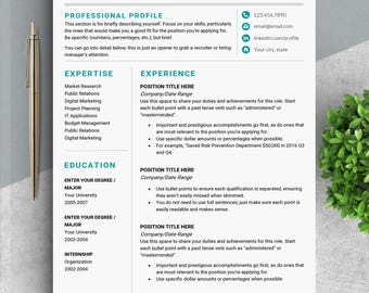 Professional resume Word A4 resume US letter cv template for word Resume instant download Modern resume One page two page professional CV HB