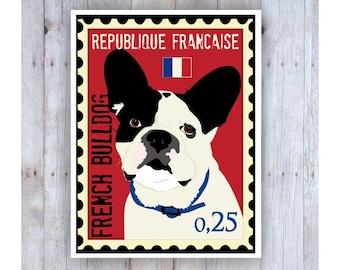French Bulldog Art, French Bulldog Poster, French Bulldog Stamp, Stamp Art, Dog Stamp Art, French Stamp, Dog Poster, Dog Art, Dog Print