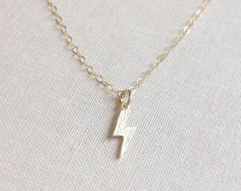 Tiny Gold Lightning Bolt Necklace