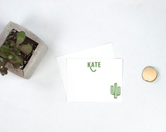 Personalized Note Cards - Cactus, Monogram Note Cards, Cactus Stationery, Cactus Note Cards, Personalized Gift, Thank You Notes