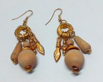 Vintage, handmade,  earrings, drop earrings, vintage earrings, long earrings, tribal earrings, dangle earrings, handmade earrings, wooden