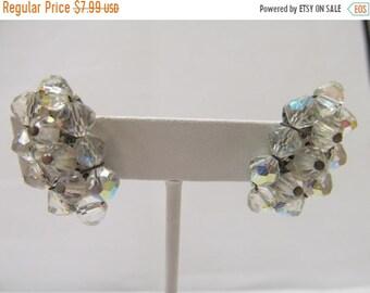 On Sale Vintage Crescent Aurora Borealis Earrings Item K # 2411