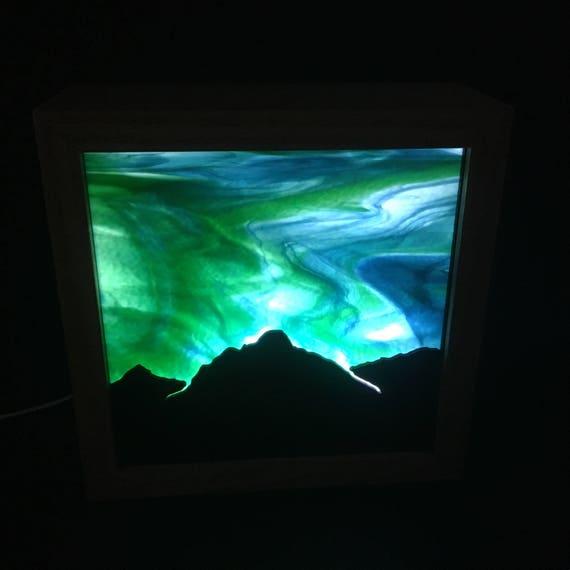 Aurora Borealis Stained Glass LED Lamp