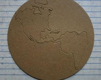 2 bare chipboard die cuts earth - globe shaped diecuts