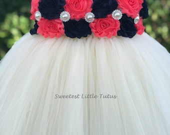 Navy Blue and Coral Flower Girl Tutu Dress/ Navy Blue Coral Flower Girl Dress/ Navy Blue Flower Girl Dress/ Coral Flower Girl Dress