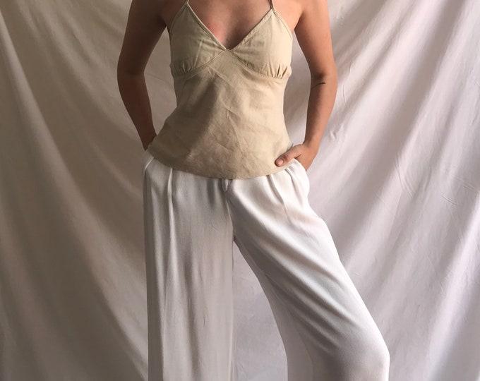 90s Vintage Linen Halter-Neck Top