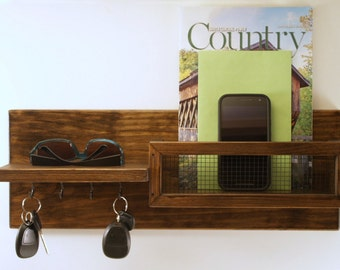 Mail and Key Organizer with Shelf-Rustic-Country-Farmhouse