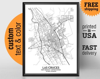 Las Cruces New Mexico Map, Las Cruces City Print Poster, Personalized Wedding Map Art Gift For Couple, New Mexico State University