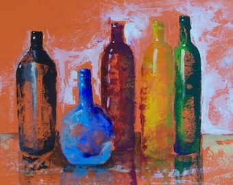 Original abstract painting with tequila bottles impressionistic art original acrylic for modern and hacienda home decor