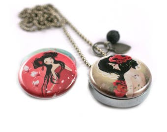 FAIRYTALE Locket Necklace - 3 in 1 - Personalized / Recycled - Interchangeable Magnetic Lids - TheNebulousKingdom X Polarity