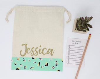 "Gift or Favor Bag - Custom Name - Pink or Gold Glitter - 8"" x 10"" Natural Cotton Pouch - Choice of Fabric for Bottom - Bridesmaid Name Bag"