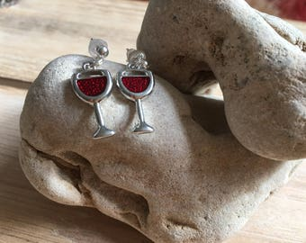 Wine Charm Earrings, Gift for Friend, Wine Lover Gift