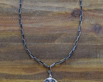 Vintage Hopi Overlay Reversible Sterling Silver Necklace