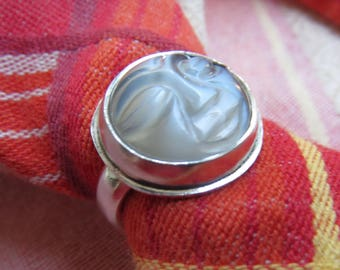 Carved Moon Face Gray Moonstone in Sterling Ring Size 6