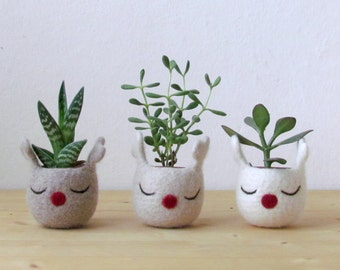 Plant pot, xmas gift for sister, xmas gift for wife, xmas gift coworkers, unique gift wife, Mini Plant Vase, planter, hygge gift - set of 3