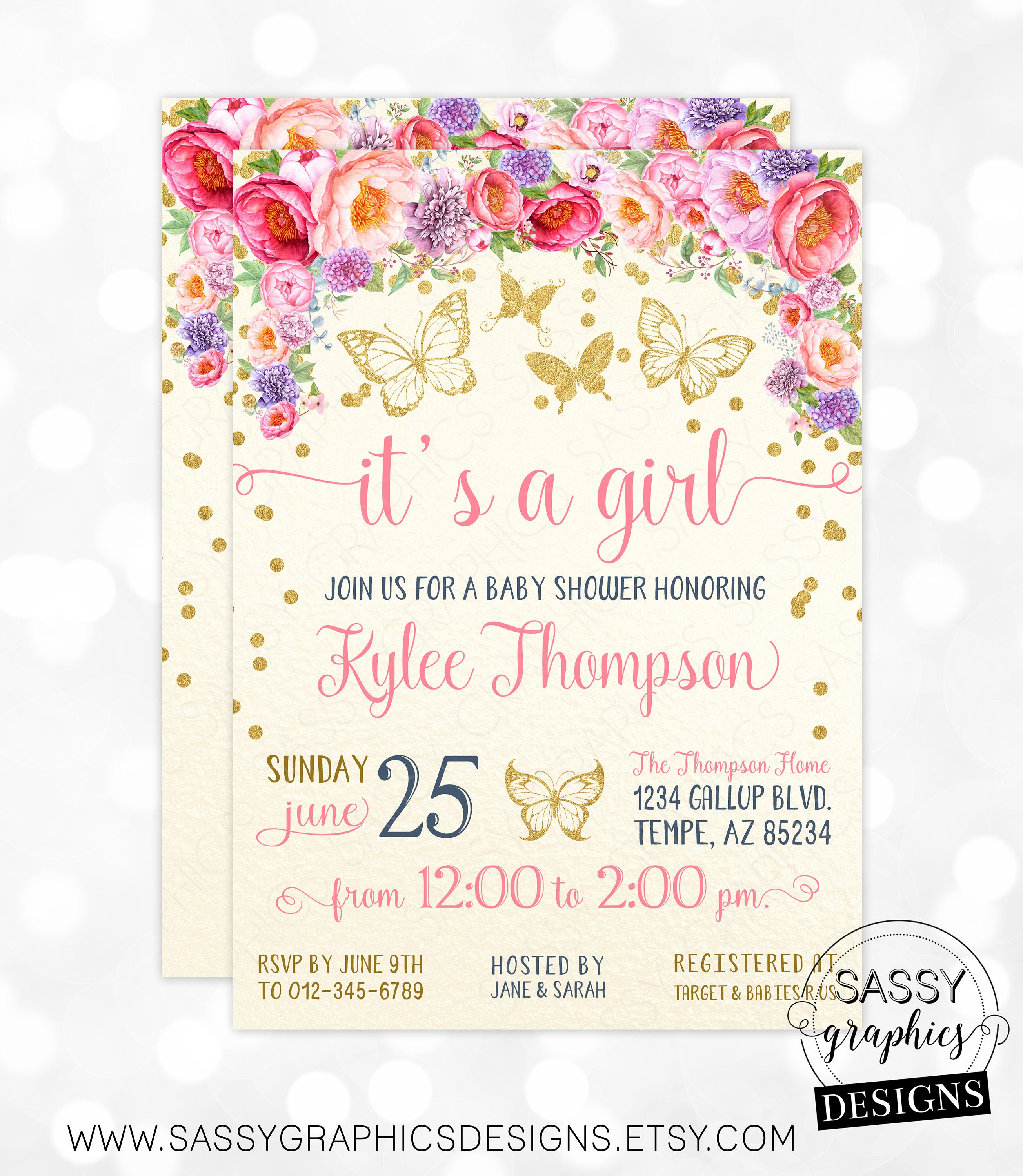 Butterfly Floral Girl Baby Shower Invitation Baby Girl Invite