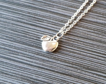 Silver Apple Necklace - Apple Charm Pendant - Personalized Necklace - Custom Gift - Initial Necklace - Personalized Gift - Teacher Gift
