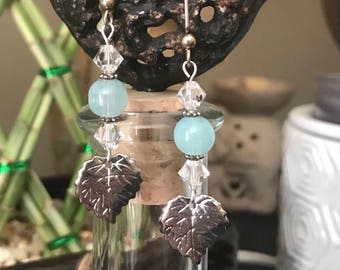 Blue Glass and Silver Leaf Earrings