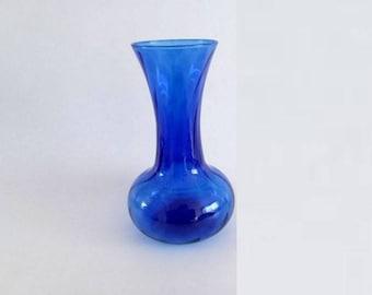 Vintage Glass Vase, Cobalt Blue Vase, Flower Vase, Wedding Centerpiece, Cobalt Blue Pop Of Color