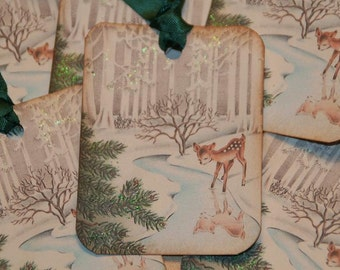 Baby Deer Glittered Old Fashion Vintage Christmas Gift Tags, Christmas Tags, Holiday Tags, Woodland Christmas