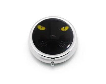 Black Cat Pill Box, Pill box holder, Pill box case, black cat eyes, gift for her,