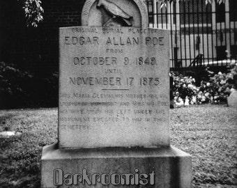 Edgar Allen Poe's original grave, 8x10 Silver Gelatin Print