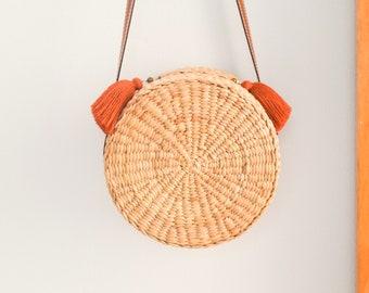 Cuero correa • paja bolsa • tejer tailandés seagrass (Jacinto de agua) • Cruz • bolsa hecha a mano con cuero correa • bolsa de boho en Ronda