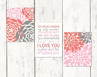 Baby Shower Gift CORAL GRAY You Are My Sunshine Art  Set Nursery Art  Little Girl Wall Art Bedroom Decor Print Or Canvas Customize Colors